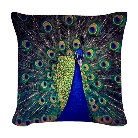 Cobalt Blue Peacock Woven Throw Pillow by LeeHillerDesigns