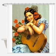 Pinip Girl, Senorita, Guitar; Shower Curtain