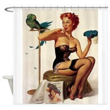 Pinup Girl, Bird, Feathers, Hat; Shower Curtain