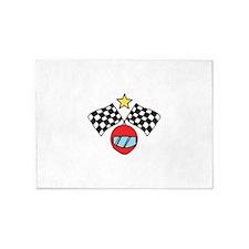Helmet Checkered Flags 5'x7'Area Rug