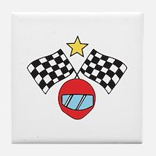 Helmet Checkered Flags Tile Coaster