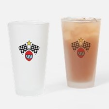 Helmet Checkered Flags Drinking Glass