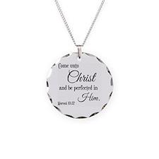 Come Unto Christ Scripture Necklace Circle Charm