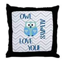 Owl Always Love You in Blue Throw Pillow