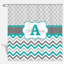 Gray Teal Chevron Quatrefoil Personalized Shower C