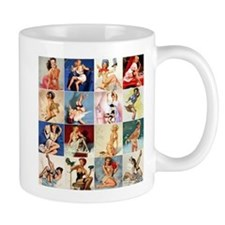Pinup Girls Collage, Vintage Art Mug Mugs