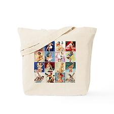 Pinup Girls Collage, Vintage Art Tote Bag