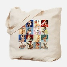 Pinup Girls Collage, Vintage Art Tote Bag