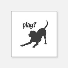 "Funny Labrador playing Square Sticker 3"" x 3"""