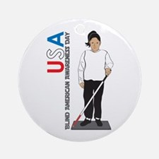 USA Blind American Awareness Day Ornament (Round)