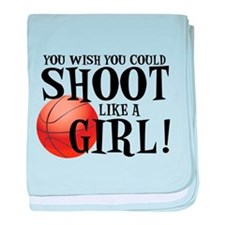 Shoot Like a Girl baby blanket