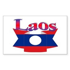 Laos flag ribbon Rectangle Decal