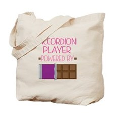 Accordion player powered by chocolate Tote Bag