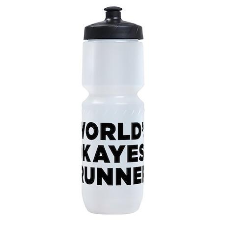 Worlds Okayest Runner - Black Print Sports Bottle