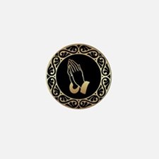 Gold Praying Hands Mini Button