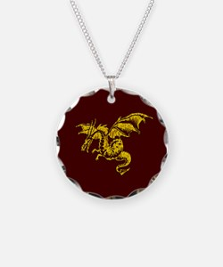 Gold Dragon On Maroon Necklace