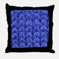 Knitting - Blue Knit Fabric Throw Pillow