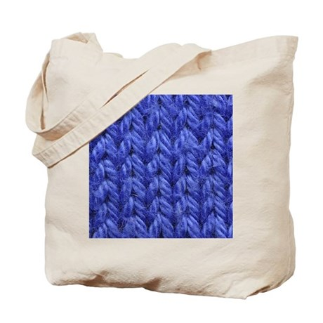 Knitting - Blue Knit Fabric Tote Bag