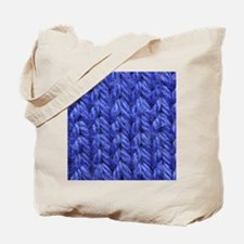Knitting - Blue Knit Fabric Tote Bag