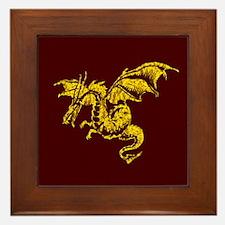 Gold Dragon on Maroon Framed Tile
