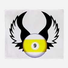 9 Ball with Wings Throw Blanket