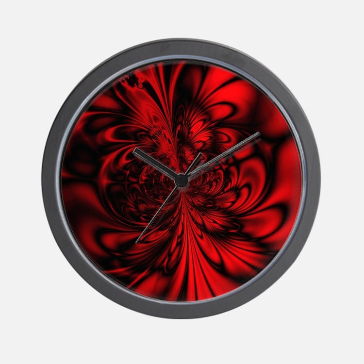 Red and black clocks red and black wall clocks large for Red and black wall clock