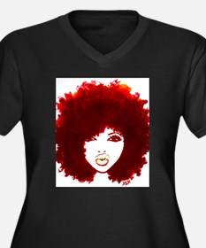 Funny African american Women's Plus Size V-Neck Dark T-Shirt