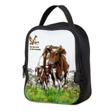 Vegan Cow And Calf Neoprene Lunch Bag
