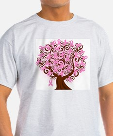 breast cancer pink ribbon tree T-Shirt