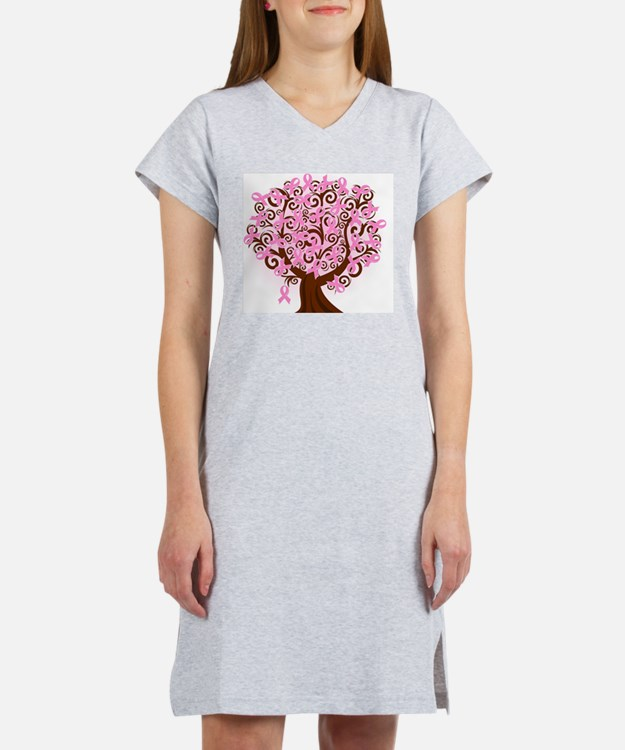 breast cancer pink ribbon tree Women's Nightshirt