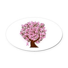 breast cancer pink ribbon tree Oval Car Magnet