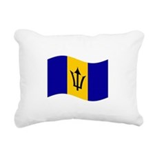 Waving Barbados Flag Rectangular Canvas Pillow