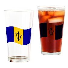 Waving Barbados Flag Drinking Glass