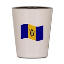 Waving Barbados Flag Shot Glass