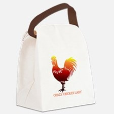 Crazy Chicken Lady Fun Quote with Rooster Canvas L