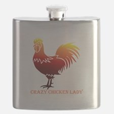 Crazy Chicken Lady Fun Quote with Rooster Flask