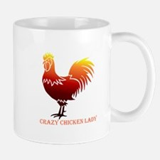 Crazy Chicken Lady Fun Quote with Rooster Mugs
