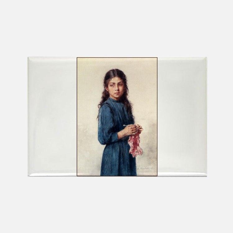 Girl Knitting - The Little Kn Rectangle Magnet