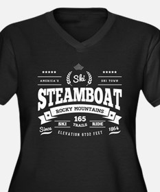 Steamboat Vi Women's Plus Size V-Neck Dark T-Shirt