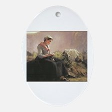 Girl with Yarn and Knitting Oval Ornament
