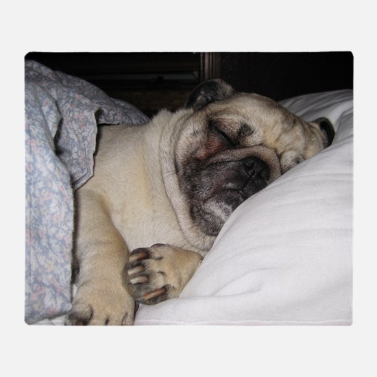 Sleepy Pug Throw Blanket