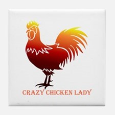 Crazy Chicken Lady Fun Quote with Rooster Tile Coa