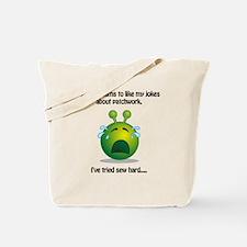 Punny Alien Patchwork Tote Bag