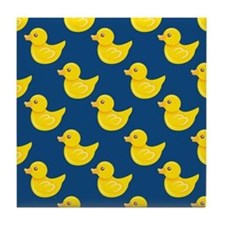 Blue and Yellow Rubber Duck, Ducky Tile Coaster