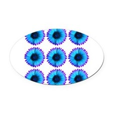 Peacock Blue And Purple Flowers Oval Car Magnet