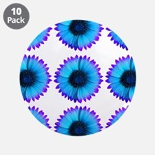 """Peacock Blue And Purple Flowers 3.5"""" Button (10 pa"""