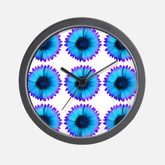 Peacock Blue And Purple Flowers Wall Clock