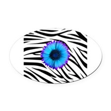 Blue and Purple Flower on Zebra Oval Car Magnet