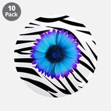 """Blue and Purple Flower on Zebra 3.5"""" Button (10 pa"""