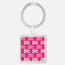 Hot Pink and White Skull and Cross Bones Keychains